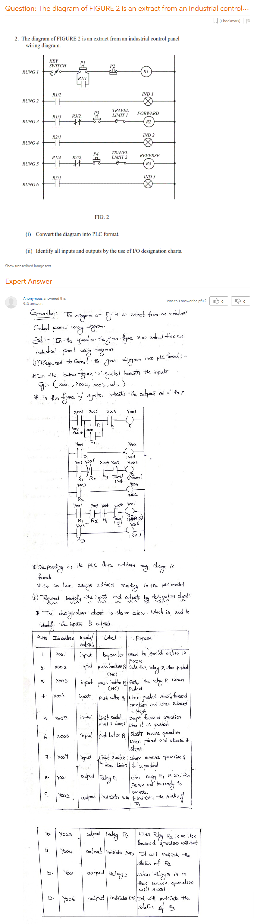 The Diagram Of FIGURE 2 Is An Extract From An Industrial Control Panel  Wiring Diagram. Convert The Diagram Into PLC Format. Identify All Inputs  And Outputs By The Use Of I/O Designation Charts.