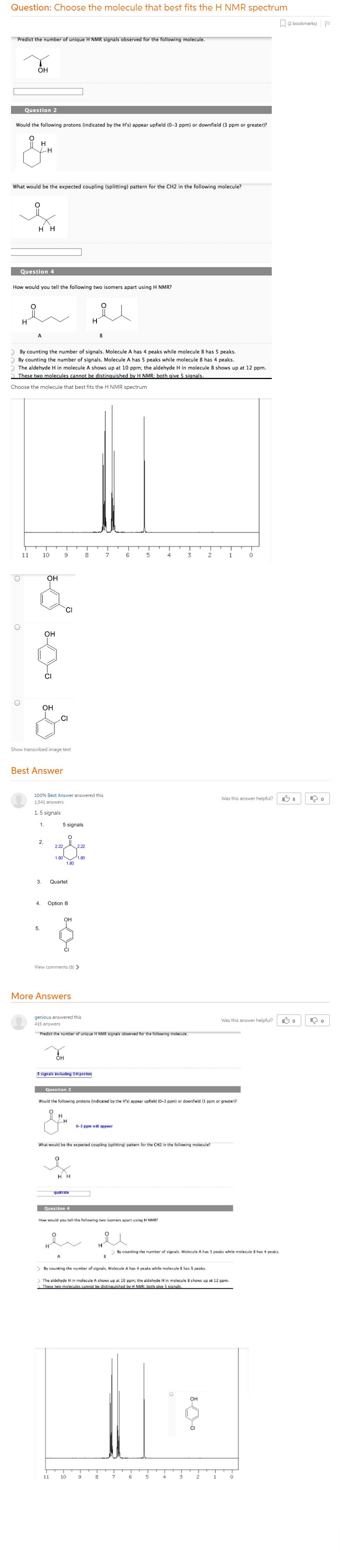 Choose The Molecule That Best Fits The H NMR Spectrum