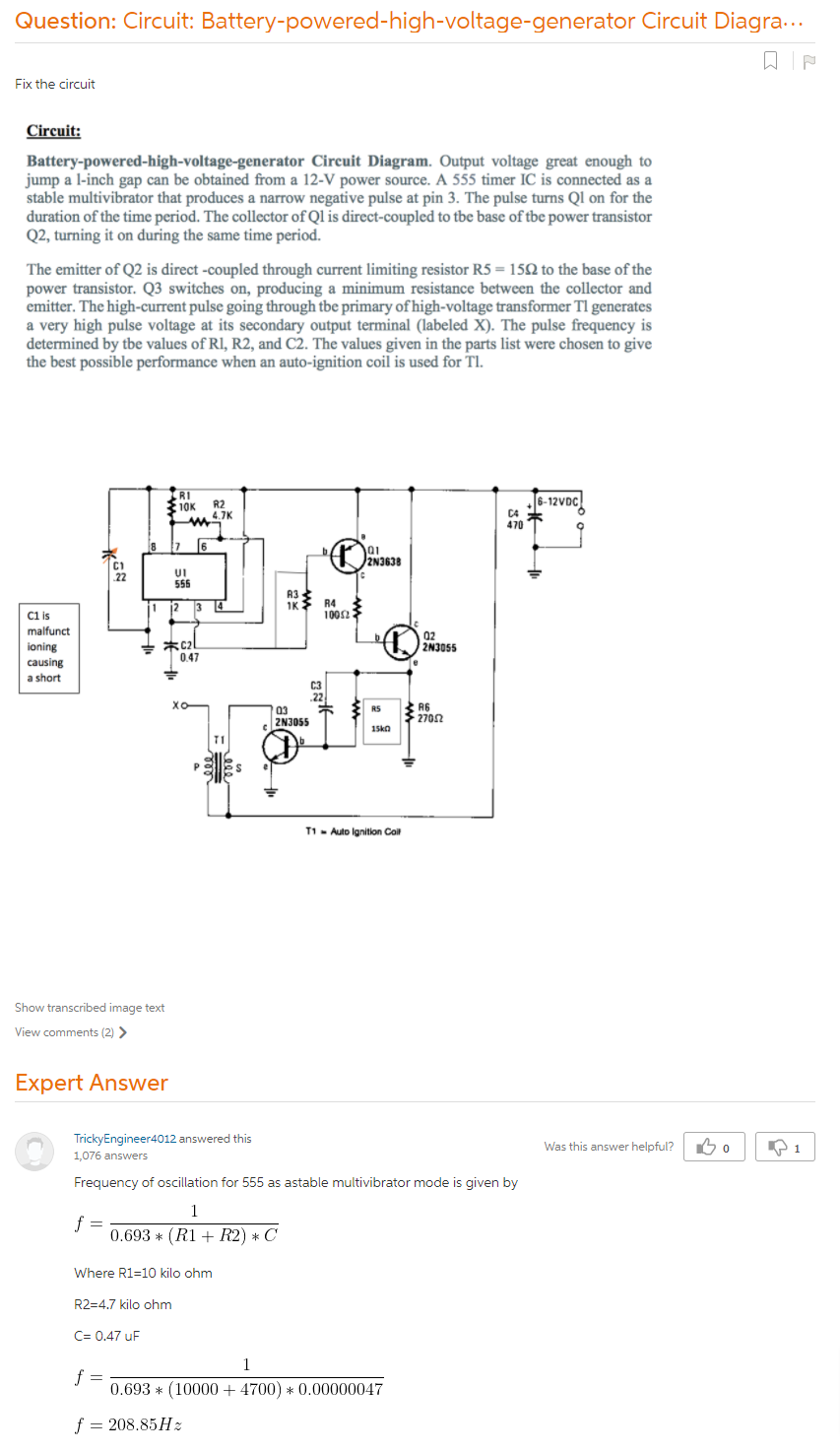 Circuit: Battery-powered-high-voltage-generator Circuit Diagram. Output  Voltage Great Enough To Jump A L-inch Gap Can Be Obtained From A 12-V Power  Source. A 555 Timer IC Is Connected As A Table Multivibrator That Produces  A Narrow Negative Pulse At Pin 3. The Pulse Turns Q1 On For The Duration Of  The Time Period. The Collector Of Ql Is Direct-coupled ...