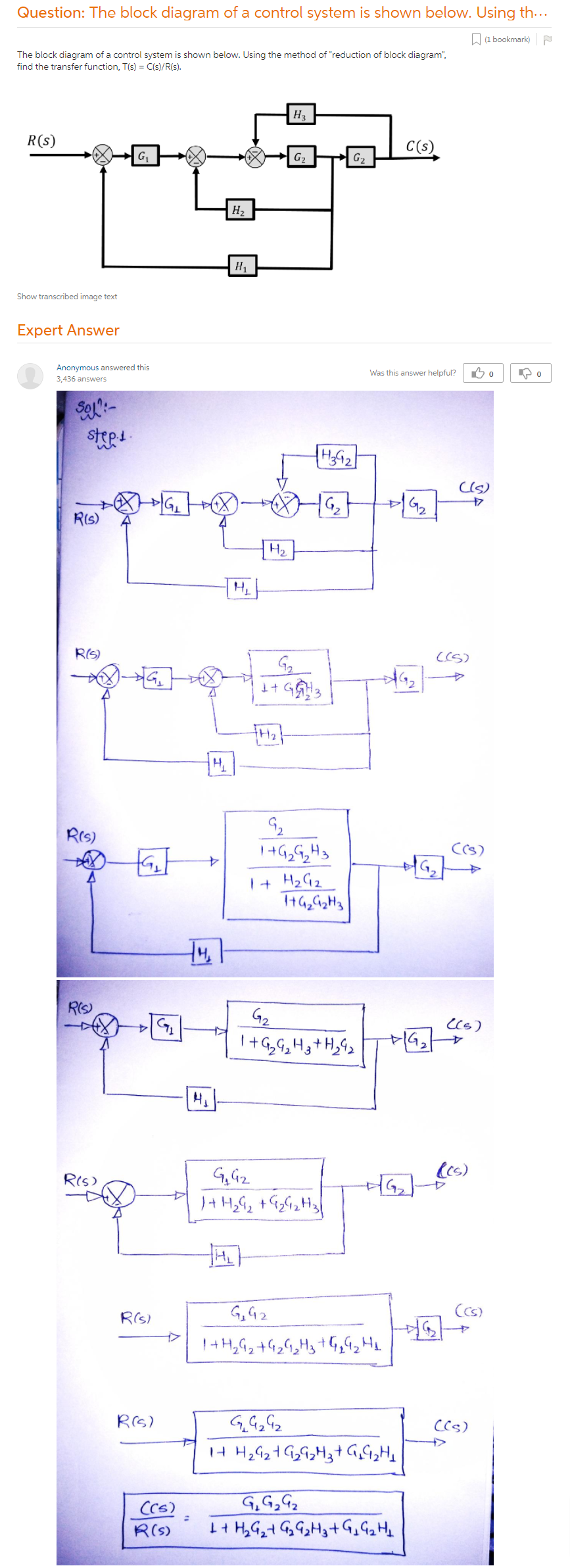 The Block Diagram Of A Control System Is Shown Below. Using The Method Of